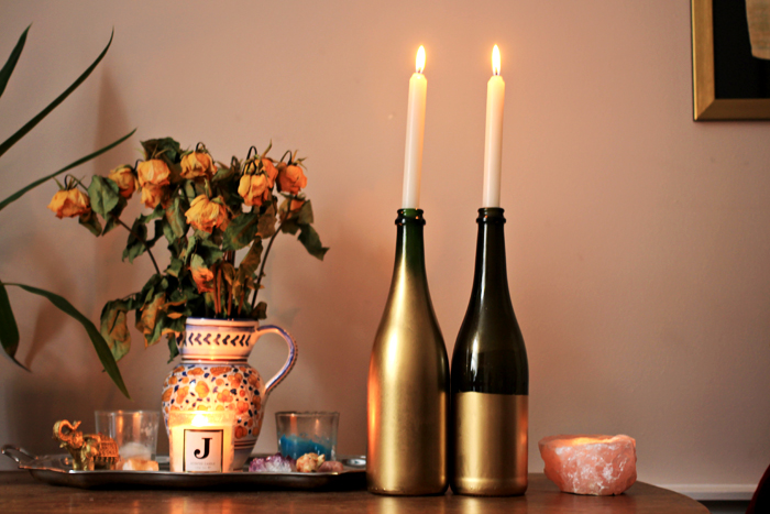 Diy Wine Bottle Candle Holders Jessthetics