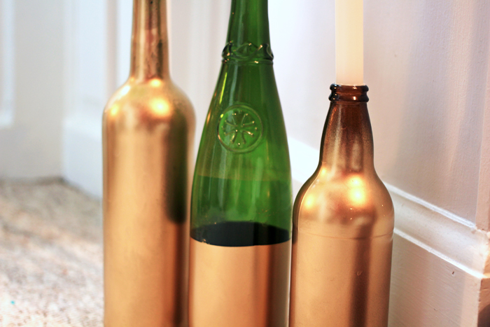 Diy wine bottle candle holders jessthetics for How to make candle holders out of wine bottles